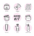 handdrawn hair removal icons set waxing kit vector image vector image