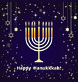 hanukkah candles on the dark blue background with vector image