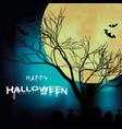 happy halloween tree branch full moon background v vector image vector image