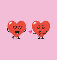 heart characters lovers emoji vector image