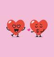heart characters lovers emoji vector image vector image