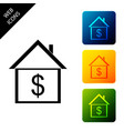 house with dollar icon isolated on white vector image vector image