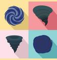 hurricane storm damage icons set flat style vector image