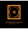 ie letter initial with royal luxury logo template vector image vector image