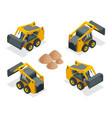 isometric compact excavators orange wheel steer vector image