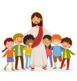 jesus hugging kids vector image vector image