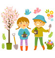 kids planting vector image vector image