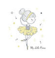 little dancing ballerina simple linear graphic vector image