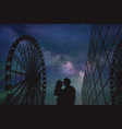 Lovers in amusement park at night vector image