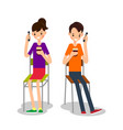 man and woman sit drink coffee and talking on vector image vector image