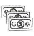monochrome blurred silhouette of money bills set vector image