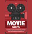 movie festival vintage video camera vector image vector image