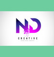 nd n d purple letter logo design with liquid vector image vector image