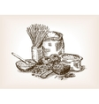 Pasta still life sketch style vector image vector image