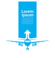 plane silhouette over template blue background vector image