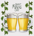 poster saint patricks day with two beer mugs and vector image vector image