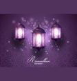 ramadan kareem greetings card with lanterns hangin vector image vector image