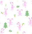 seamless pattern with pink rabbitcute animals vector image