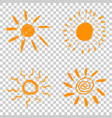 set of hand drawn chalk sun icons on isolated vector image vector image