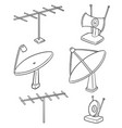 set of satellite dish and antenna vector image vector image