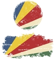 Seychelles round and square grunge flags vector image vector image
