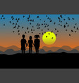 silhouette of three children standing at sunset vector image