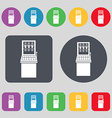 slot machine icon sign A set of 12 colored buttons vector image