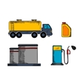 Storage transportation and filling station vector image