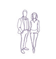 successful business man and woman couple doodle vector image vector image