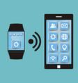 synchronization between smart watch and smart vector image vector image