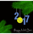 Tennis ball and 2017 on a Christmas tree branch vector image vector image