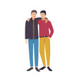 two young stylish men standing together looking vector image
