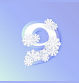 winter nine 9 number with snowflakes ice vector image vector image