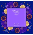 Winter wedding frame with red and blue snowflakes vector image