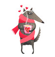wolf sick in love drinking tea vector image