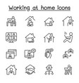 working at home icons set in thin line style vector image vector image