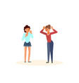 young women quarrelling vector image