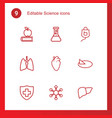 9 science icons vector image vector image