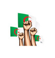 algeria flag and hand on white background