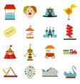 Amusement park flat icons set vector image vector image