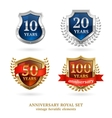 Anniversary golden heraldic labels set vector image vector image
