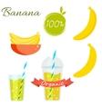 banana fruit and juice set vector image
