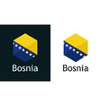 bosnia flag in icon on white and black vector image vector image