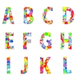 Bright creative cartoon comic alphabet vector image vector image
