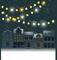 christmas background with small town vector image vector image