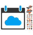 cloud calendar day icon with dating bonus vector image vector image