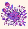 colrful fantasy flower purple blue color framed vector image vector image