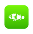 cute clown fish icon digital green vector image
