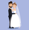 cute young couple hugging tenderly together posing vector image