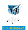Desktop Computer in Cyber Monday Shopping Cart vector image vector image